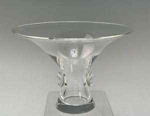 Vintage Signed Steuben Glass Mid-Century Modern Flaring Vase w/ Prunts