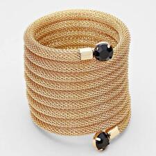 "3"" wide gold black crystal wrap coil snake bracelet bangle cuff"