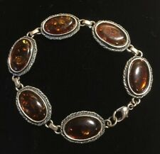 Vintage Sterling Oval Honey Amber Bracelet 7.75""