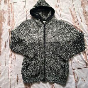 Zara kids zip up hooded sweater-black/white-size 11/12-guc