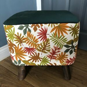 New Square Footstool With Handmade  Cover In Autumn Leaves Fabric