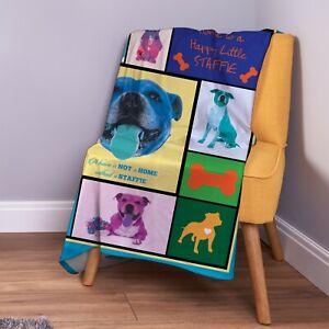 Staffordshire Cane Terrier Colore Montaggio Morbido Coperta IN Pile Coperta