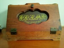 """Rare Vintage 1984 Wooden Bread Box Stensiled Door """"Made With Tender Loving Care"""""""