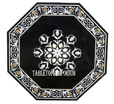 "24"" Black Marble Coffee Side Table Top Marquetry Inlay Occasion Furniture Decor"