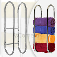 Wall Mounted Chrome Towel Holder Shelf Steel Bathroom Storage Rack Rail Stand UK