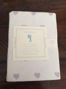 POTTERY BARN KIDS Purple Heart Flannel 20 x 30 Pillowcase New NWT