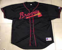 VTG Men's Atlanta Braves Sewn Jersey Russell Athletic Sz 3XL Black Out Red MLB