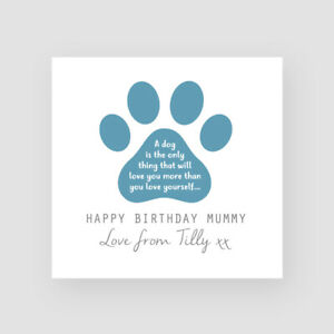 Personalised Handmade Birthday Card - From Dog/Dogs - For MUM, MUMMY, DAD, DADDY
