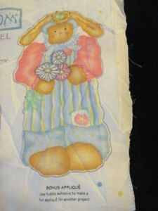 """39"""" Bunny with Flowers Fabric Panel Cut and Sew and Rabbit 10"""" Doll Toy AJ135"""
