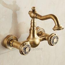 Brass Wall Mounted Round Twin Knob Bridge Kitchen Sink Faucet Basin Mixer Tap