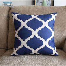 Deep Blue Sea Geometric Cotton Linen Cushion Cover Home Decor Throw Pillow Case
