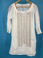 Caslon Womens Dress White Brown Small Lined Boho Hippie Summer (H1)