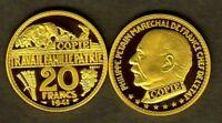 ★★ JOLIE COPIE PLAQUEE OR DE L'ESSAI DE BOUCHARD DE LA 20 FRANCS 1941 PETAIN ★