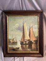 Jean Laurent signed oil painting ~ harbor scene ~ nautical ~ maritime ~ boats