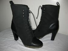 J Crew Eliza Lace Up Ankle Boots Black Shoes Size 6.5 Made In ITALY.