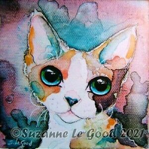 Devon Rex cat art print mounted from original canvas painting Suzanne Le Good