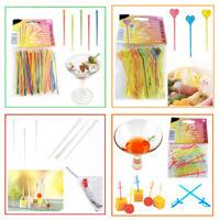 Cocktail Sticks Swizzle Party Fruit Food Pick Drink Flexi Straws Stirrer Decor