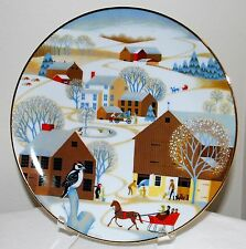 "World Book Christmas Plate ""Christmas on the Farm"" Betsey Bates 1981 w/COA"
