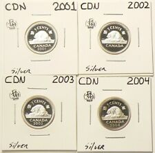 2001 2002 2003 2004 Canada 5 Cents Proof Lot of 4 Silver #6934