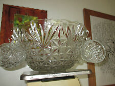 Vintage Clear Glass Large Punch Bowl w/Cups/Hooks/Ladle~Star Burst Pattern 17pc