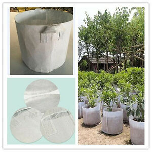 Round White Fabric Pots Breathable Plant Grow Bags Container 5,7,10,20,50 Gallon