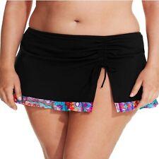 Profile by Gottex Plus Size Printed-Hem Swim Skirt Bottom, Black, 22W