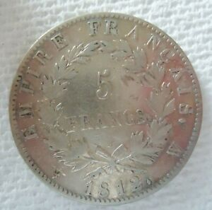 FRANCE 1812W 5 FRANCS SILVER COIN. NAPOLLEON EMPIRE FRANCAIS