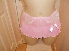 Sissy Sheer Skirted Nylon Thong Bikini Panties Knickers Pink