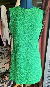 Vintage 1960's Mod Dress, Mini, Green, Size 12