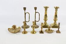 10 x Vintage BRASS Candlesticks / Holders Inc. Matching Pairs Etc (2194g)