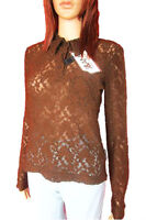 Dolce Gabbana NEW Womens Brown Lace Fashion Casual Long Sleeve Blouse sz S M L