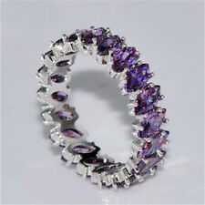 fashion Purple amethyst Eternity-Stacking Ring Wedding Band Silver Jewelry Siz 7