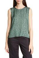 Eileen Fisher Top Abstract Silk Green Sleeveless Sz M NEW NWT 334