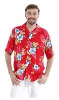 Men Aloha Shirt Cruise Tropical Luau Beach Hawaiian Hawaii Casual Red Hibiscus