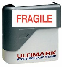 FRAGILE text on Ultimark Pre-inked Message Stamp with Red Ink