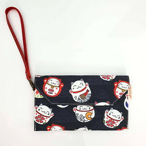 "Handmade Blue Japanese Lucky Cat Canvas Flap Envelope Wristlet Bag 7.5"" x 4.5"""