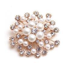 LNRRABC Fashion Women Large Brooches Lady Snowflake Imitation Pearls Jewery LC