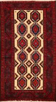 Tribal Geometric Balouch Afghan Hand-Knotted Oriental Area Rug Nomad Carpet 3x6