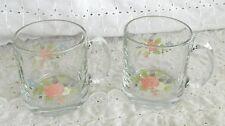 2 Pfaltzgraff Libbey Tea Rose Glass Coffee Tea Mugs Cups Glassware 12 Ounce