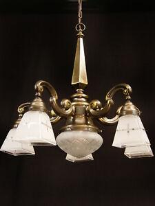 Jugendstil Kronleuchter Deckenlampe um 1910/20 Messing Glas restauriert