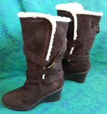 Dawgs brown microfiber size 8 womens winter lined wedge heel boot