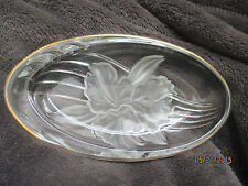 Vintage MIKASA CRYSTAL Relish Dish Gold Trim Frosted Flower - Nut / Candy Dish
