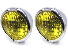 """4.75 """" 120mm Chrom Bates Stil E-geprüft gelb Metall Scheinwerfer für Oldtimer"""