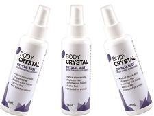3 x 150ml BODY CRYSTAL Body Deodorant Mist Spray - Fragrance Free
