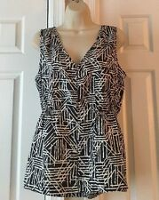 Amber Sun Sleeveless Top Size Medium Navy/White 100% Silk V-Neck Women's