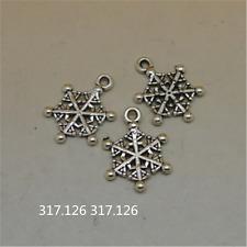 25X Tibetan Silver Christmas Snowflake Charm Pendant Beads Jewellery Craft GU929