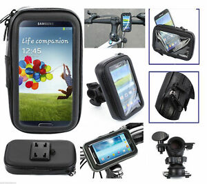 For XL Cell Phones - Bicycle Motorcycle Black Case Bag w/ Handlebar Mount Holder