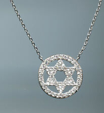 925 SILVER SIGNITY CZ MICRO PAVE STAR OF DAVID WITH CIRCLE PENDANT NECKLACE