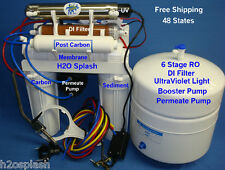 Reverse Osmosis 6 Stage 100/150gpd RO+DI+UV+Booster+Permeate Pump Water Filter