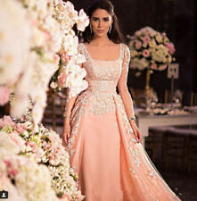 Pink Long Sleeves Applique A-line Evening Party Prom Dress Celebrity Formal Gown